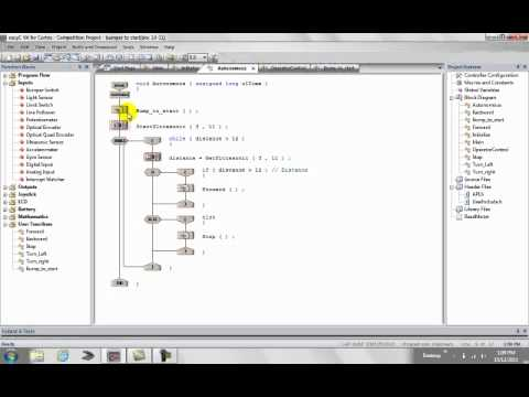 EasyC Tutorial - Vex Robotics -Push button to start program mp4