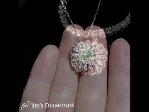 Green and pink diamond ring, ring turned pendant necklace | Bee's Diamonds