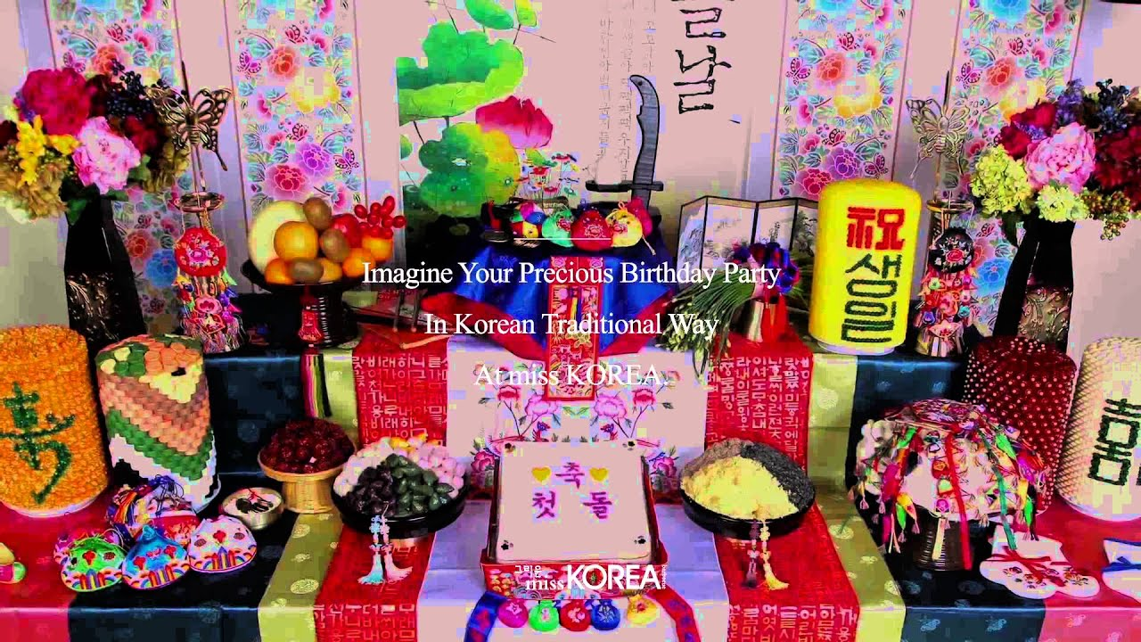 The Korean Traditional Birthday Table Setting For Baby Dolsang At