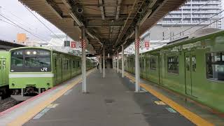 1分間に201系が3本連続発車! JR久宝寺駅