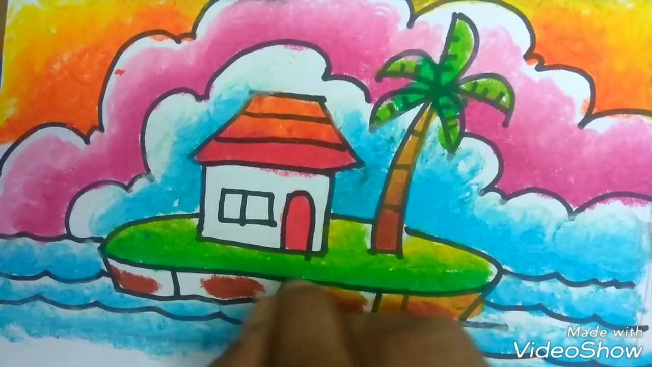 Cara mewarnai gradasi krayon dengan mudah pemandangan pulau