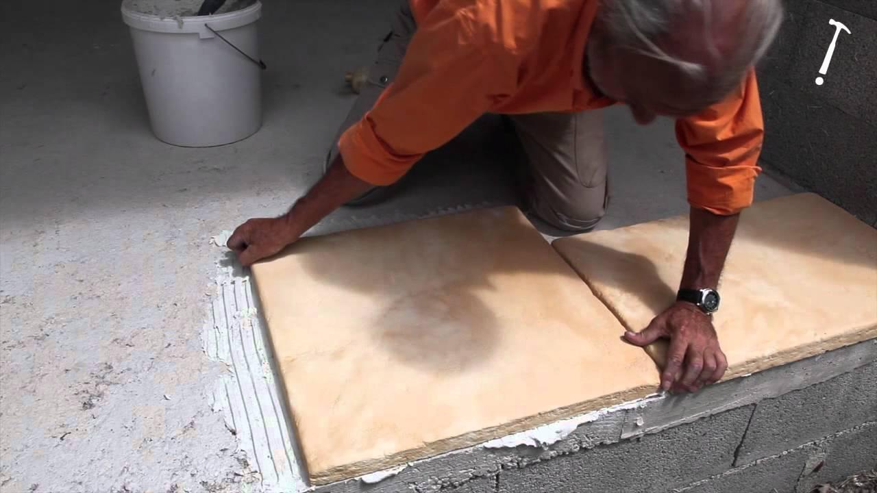 Réaliser Une Terrasse En Pierre Reconstituée Bricolage Avec Robert - Pose de carrelage exterieur sur dalle beton