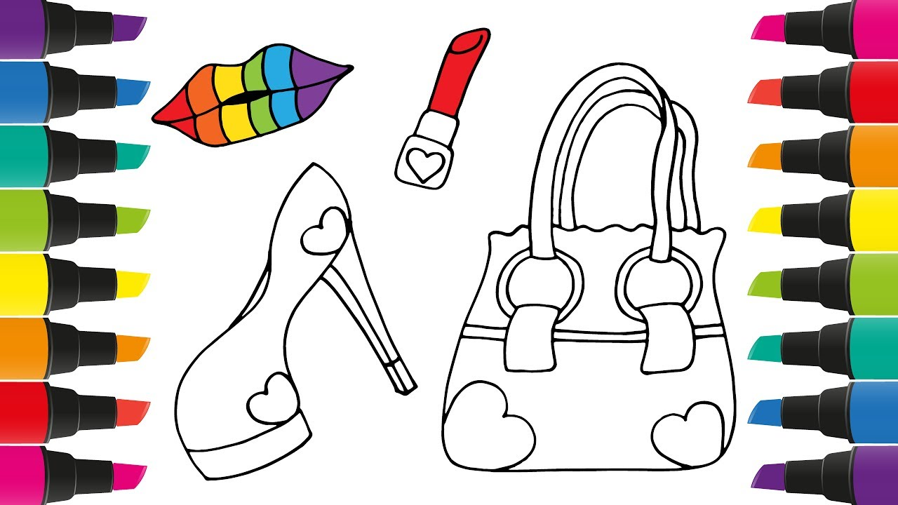 how to draw accessories for girls coloring pages lips lipstick