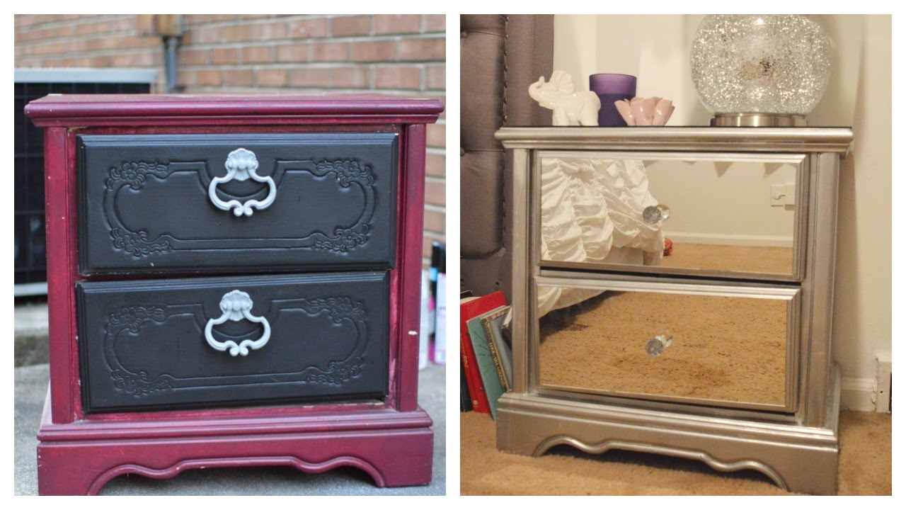 Mirrored Dresser Ikea Part - 16: DIY Mirror Nightstand! $4 Dresser Revamp + IKEA Rant!! ???