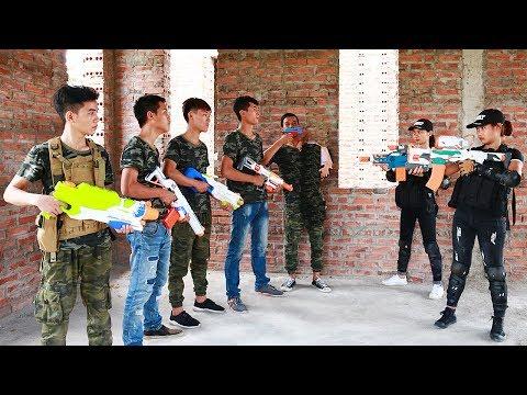 3T Nerf War : Squad Alpha Twin Sisters Nerf guns Escape Spectacular Crime Base