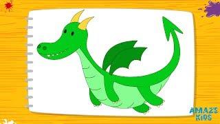 Как Нарисовать Дракона для Детей. Учимся Рисовать Животных. Рисунки Своими Руками. Уроки Рисования