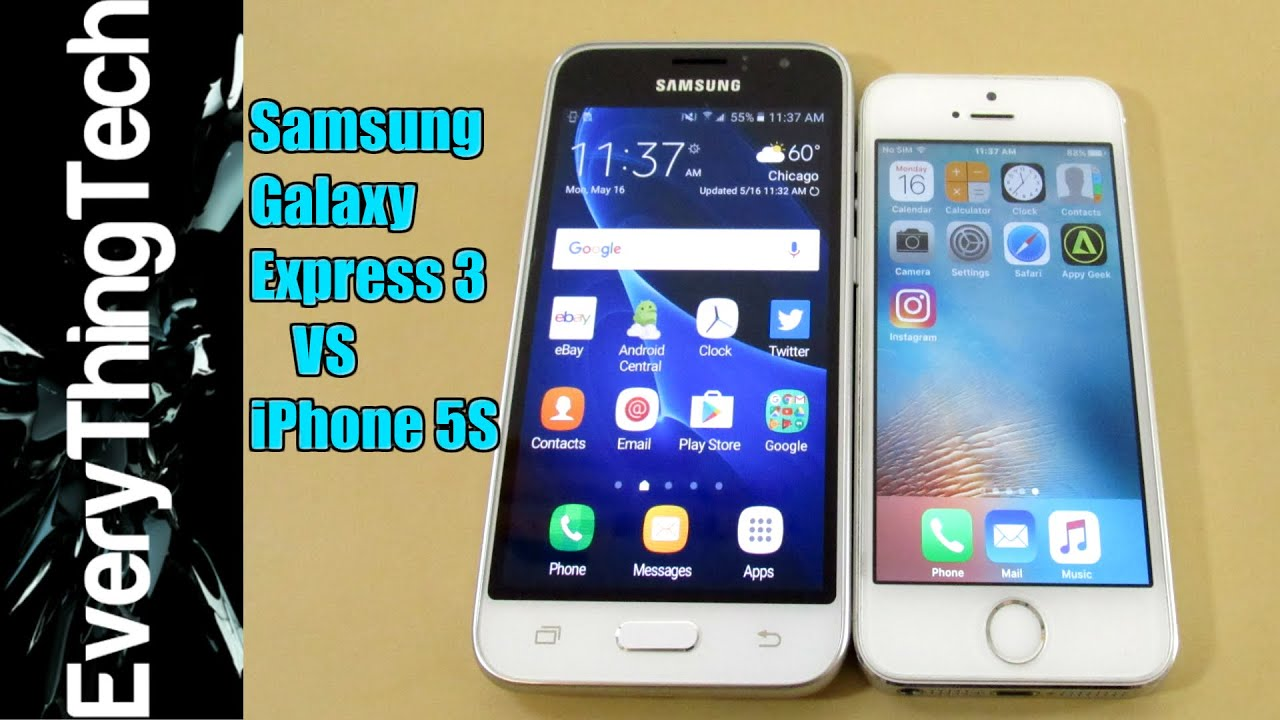 samsung galaxy express 3 vs iphone 5s youtube