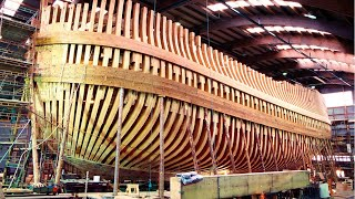 Amazing luxury wooden ship building process. Incredible modern wooden yachts assembling construction