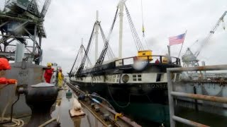 Uss Constellation Enters Dry-dock. Time-lapse.