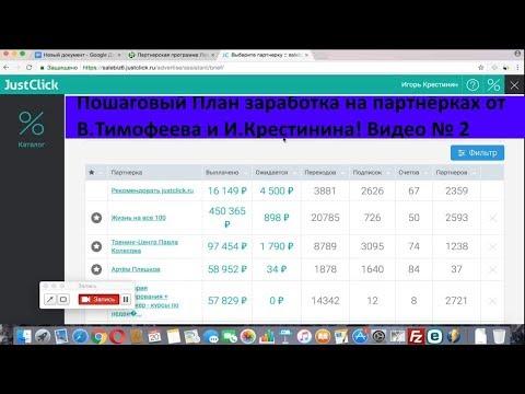 План заработка на партнерках от В Тимофеева и И Крестинина Видео №2