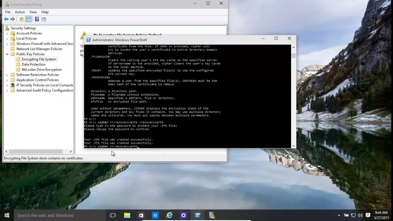 Windows 10 and 8 1 Encrypted File Recovery Agent