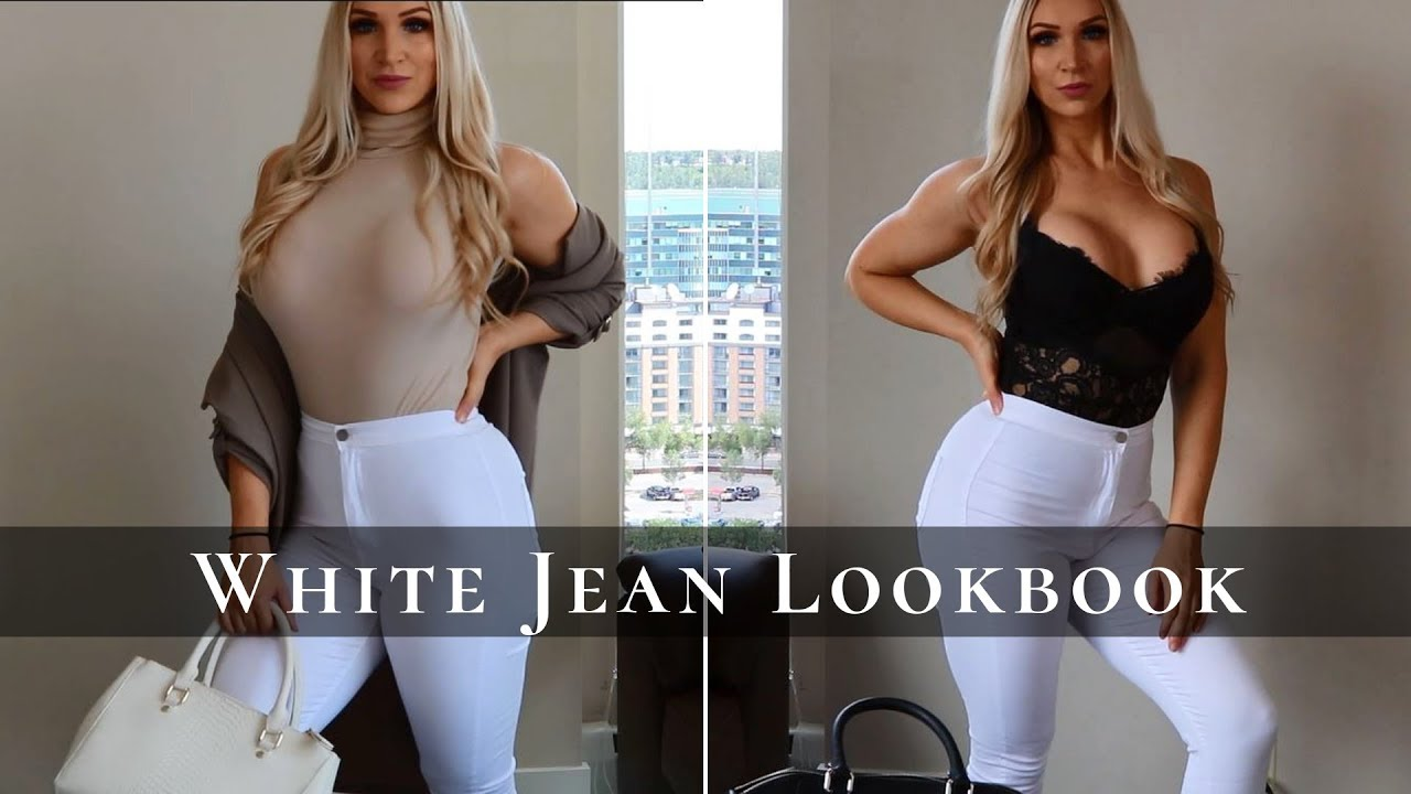 [VIDEO] - WHITE JEAN LOOKBOOK | HOW TO STYLE | 9 OUTFIT IDEAS 2019 8