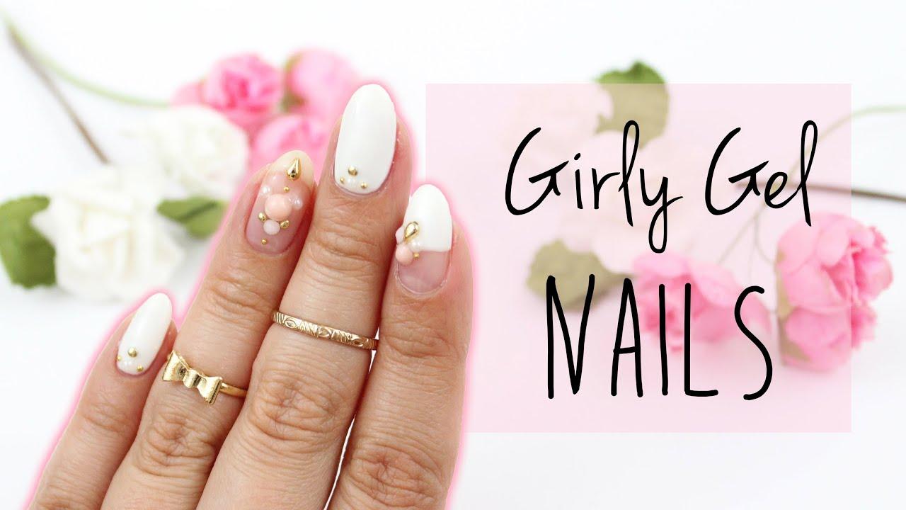 Girly Gel Nail Art | Japanese Nails  - YouTube