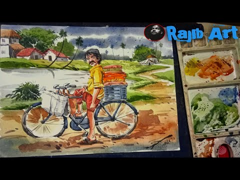 #Trending. #watercolor. Watercolor outdoor landscape composition by Rajib samanta.