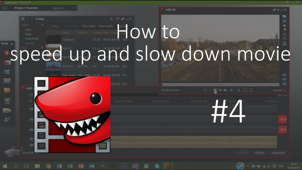how to speed up video in lightworks