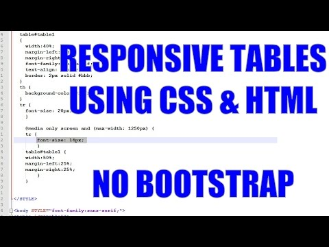 Simple Responsive Tables in CSS and HTML without Bootstrap