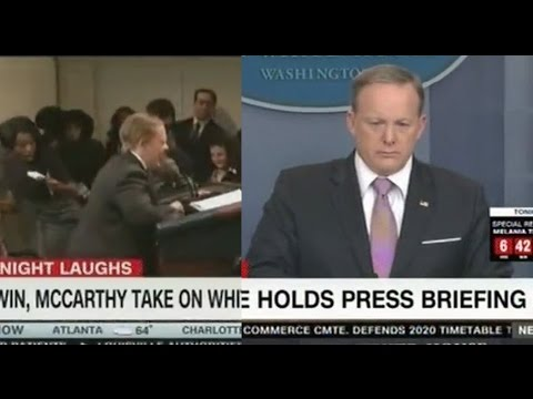 "Thumbnail: Sean Spicer Channels SNL Melissa McCarthy when he says ""Don't let me make the Podium Move"""