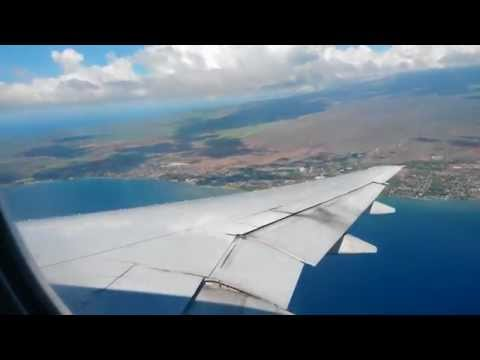 Approach and landing at Kahului Airport Hawaii