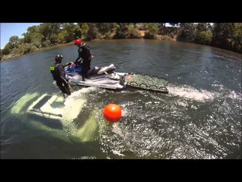 USCG STAN TEAM - K38 Swiftwater Rescue Boat Training - Submerged Car Training