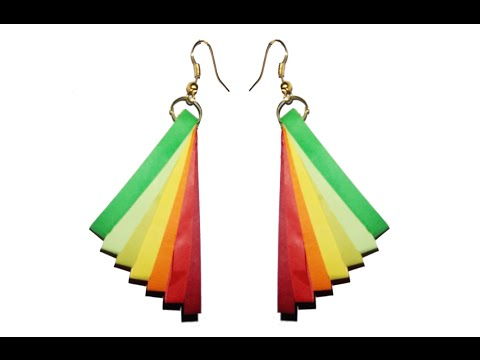 Papercraft Quilling Earrings with rainbow colors New model quilling earring making turorial
