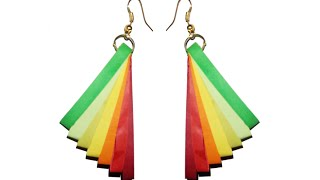 Quilling Earrings with rainbow colors New model quilling earring making turorial