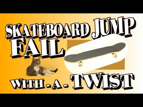 Skateboard jump FAIL turns CAT into big WIN!