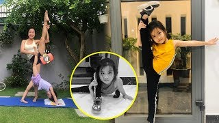 Bất ngờ khi mới 5 tuổi,con gái Ốc Thanh Vân đã dẻo dai,thực hiện động tác khó cùng mẹ tập yoga