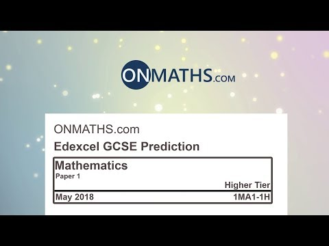 2018 Edexcel Maths GCSE Paper 1 Predicted Paper for Higher Non Calculator Exam 1MA1/1H
