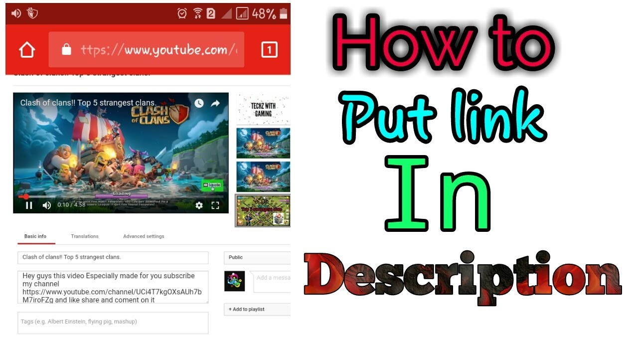 How to copy put link in Description! Hindi! Android