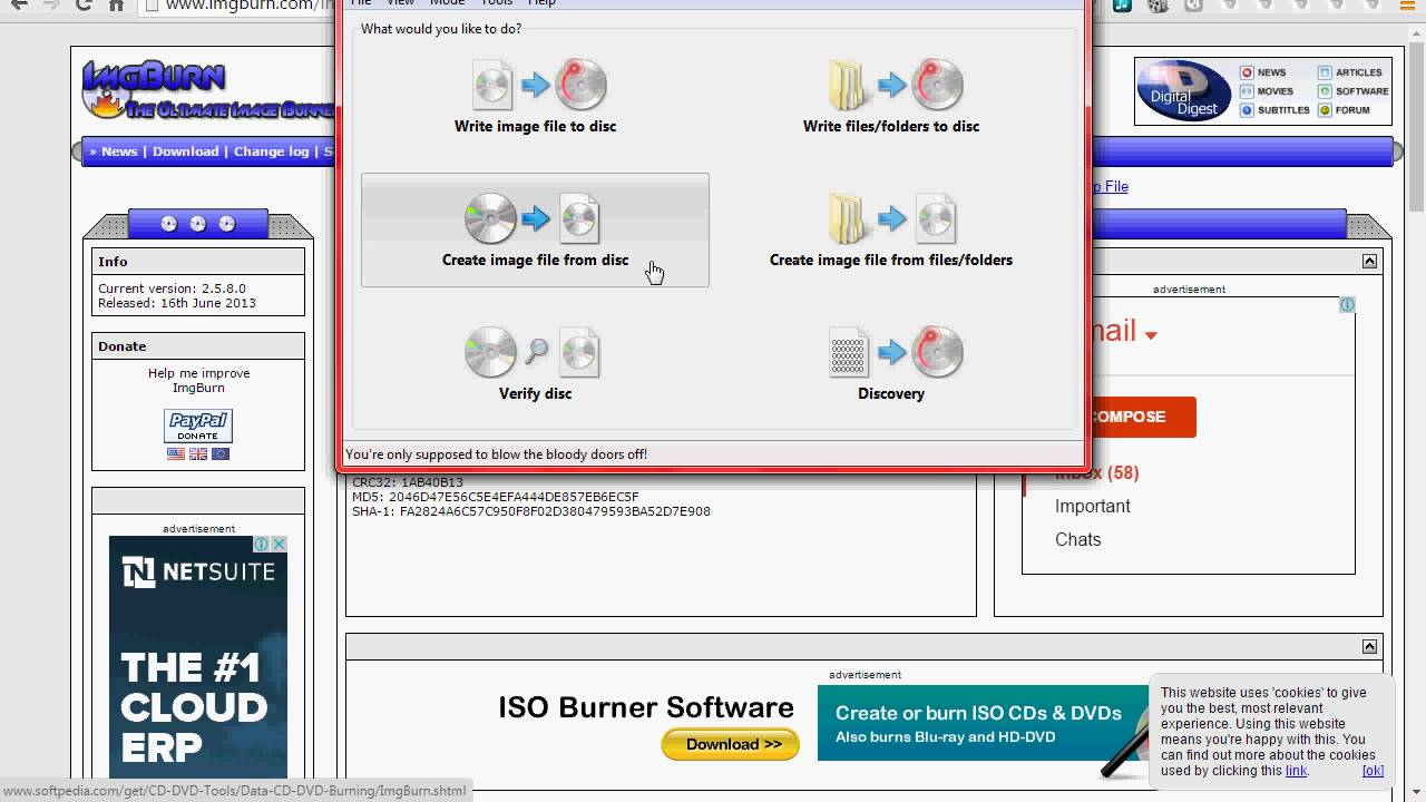 how to creat iso file from files or folders using imgburn