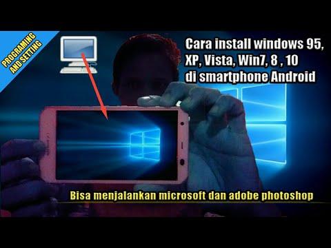 Instal Windows 10 Pro di Smartphone Andromax E2+. Bisa buka Photoshop :D.