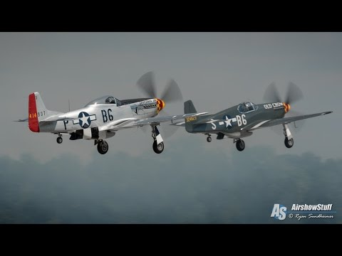 World War II Warbirds and Pyro (B-25s/T-6s/Lanc/P-51s/Sea Fury/Yak-9) - EAA AirVenture Oshkosh 2015