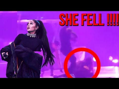 Ariana Grande FALLS again on stage during BAD DECISIONS