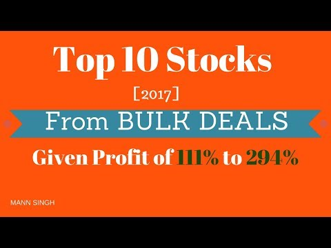 Top 10 Stocks of 2017 from Bulk Deals | Given Profit of 111% to 294%