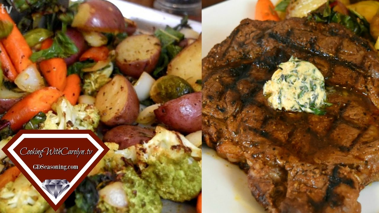 SMOKED OLIVE OIL GRILLED RIBEYE STEAK with the BEST ROASTED VEGETABLES RECIPE|Cooking With Carolyn