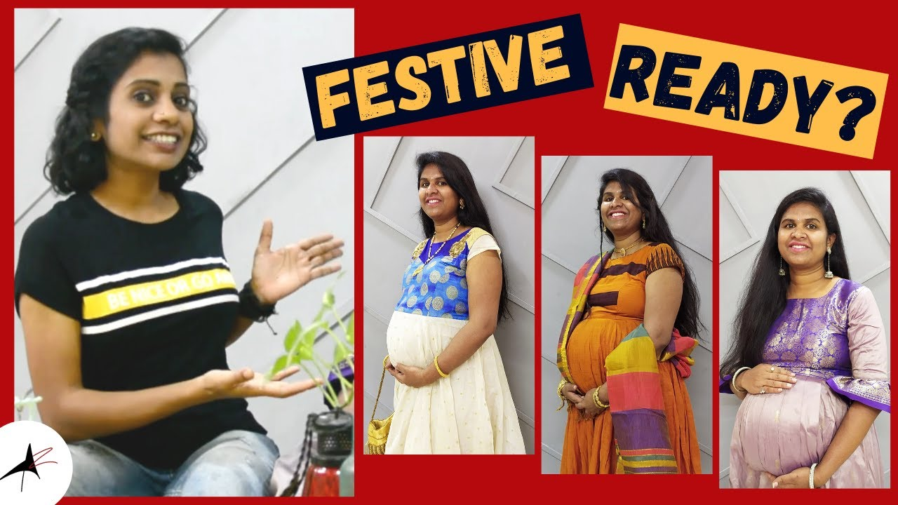 Comfortable Traditional Outfit Ideas For Pregnant Women | Maternity Dress, Jewellery