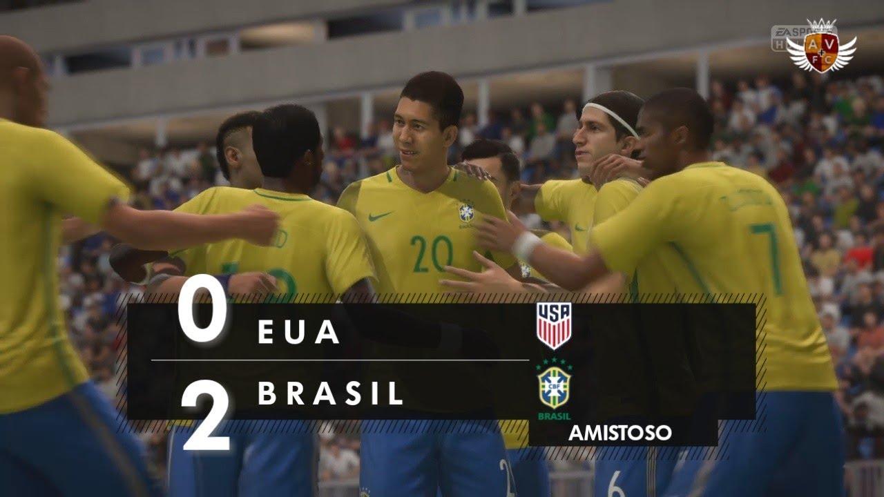 BRASIL 2 x 0 ESTADOS UNIDOS NO FIFA 18 - AMISTOSO  d25dc8a5c90ab
