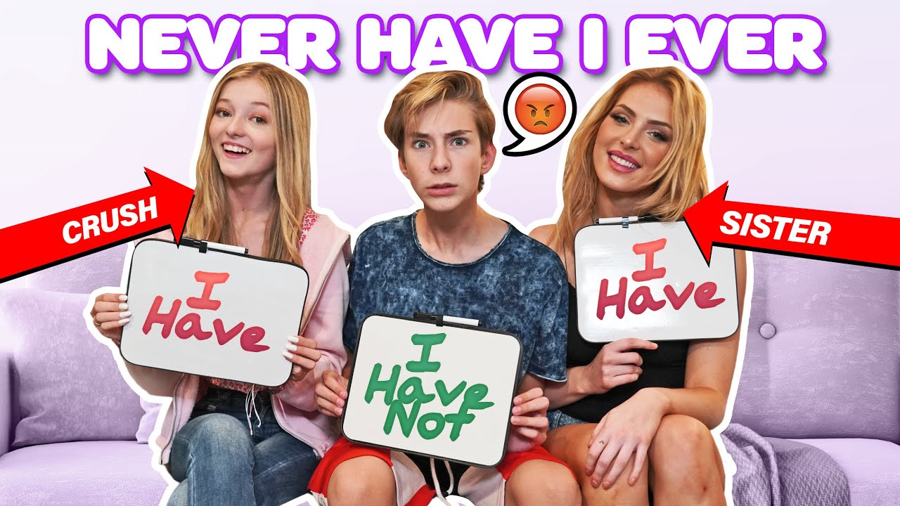 NEVER HAVE I EVER Challenge W/ My CRUSH **FIRST KISS EXPOSED** ❤️💋| Sawyer Sharbino
