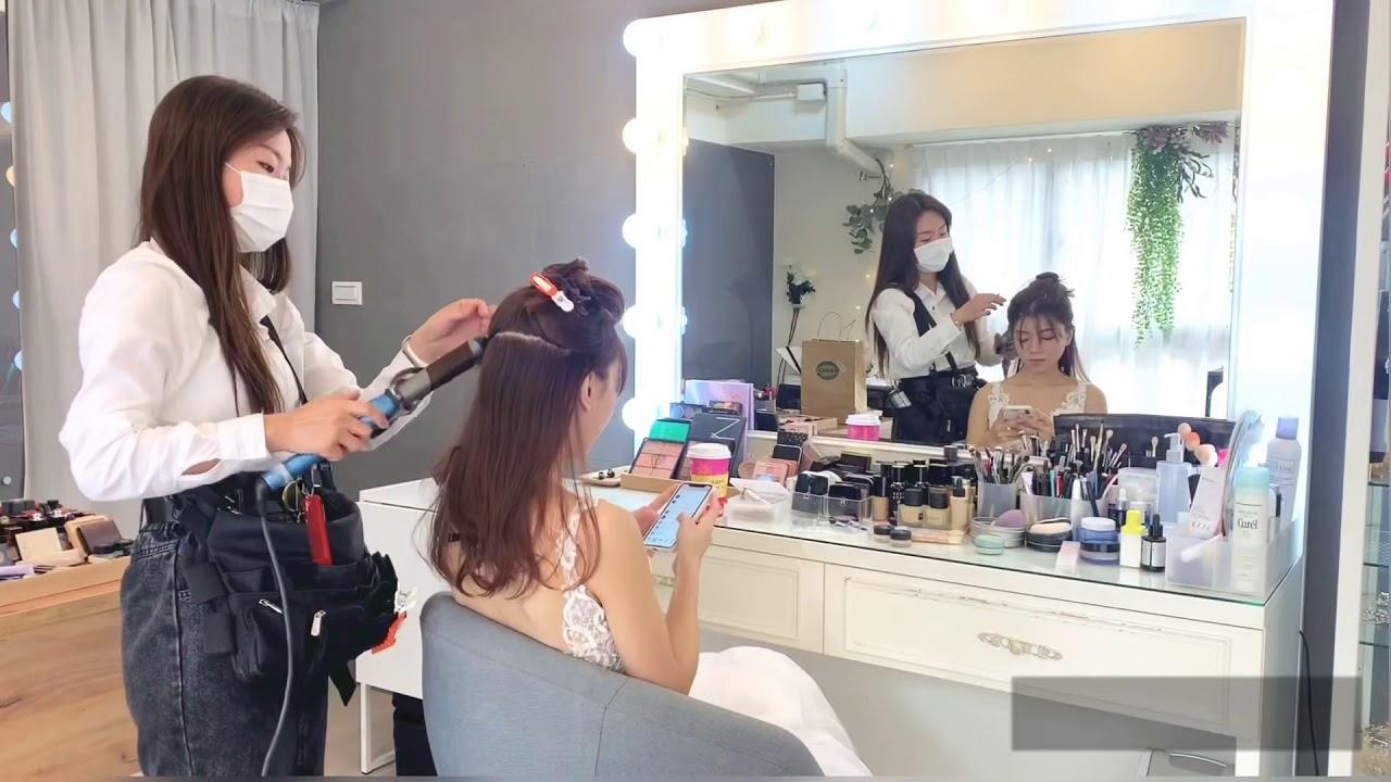 唯美的自助婚紗拍攝和妝髮過程分享/新娘造型/婚紗造型/大波浪唯美新娘造型【WINNI妝髮造型工作室】