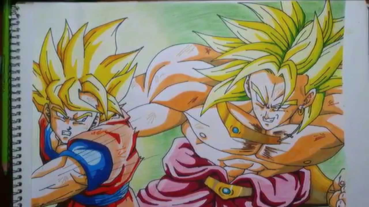 Dibujando a Goku vs Broly Drawing Goku vs Broly speed drawing