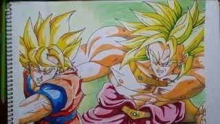 Dibujando a Goku vs Broly. Drawing Goku vs Broly. speed drawing goku VS broly