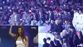 181201 BTS REACTION MOMOLAND BBOOM BBOOM IN MELON MUSIC AWARDS  #MMA2018 #MelonMusicAwards