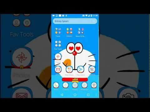 Blue Cat Cartoon launcher Theme