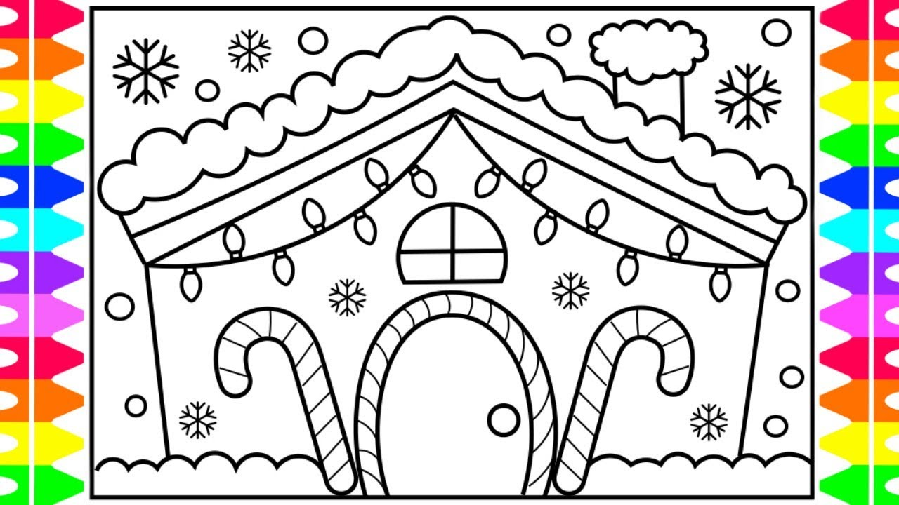 how to draw a house step by step with christmas lights decorated house for christmas coloring page
