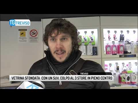 TG TREVISO (13/12/2018) - VETRINA SFONDATA  CON UN...