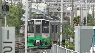 トキ鉄ET127系V8が入場し、2両編成のキヤE195系が休む、長野総合車両センター。