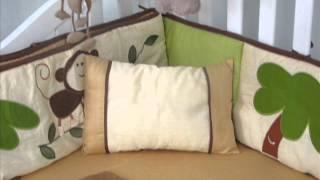 Curious Monkey Baby Crib Nursery Bedding Set; Luxury Crib Bedding, Beautiful Baby Bedding