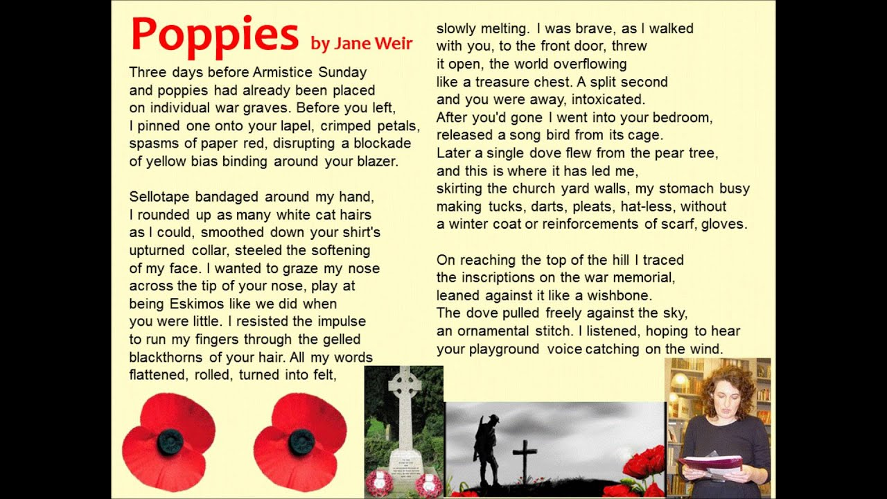 "summary of poppies by jane weir Poetry analysis: 'poppies' - jane weir in 'poppies', weir is comparing the tranquillity of nature with the carnage of war the poem shows how the soldiers sacrificed their life to ""ransom"" the hills of france thus showing how france's freedom was paid by the blood of these young men."