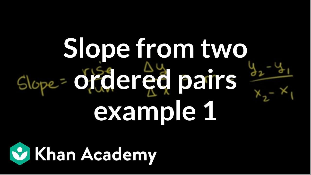 Slope From Two Ordered Pairs Example 1  Algebra I  Khan Academy
