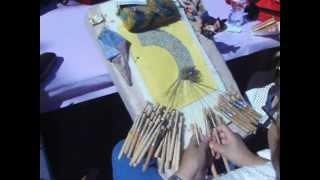 bolillos bolillera encaje de valenciennes tecnica textil hilos bobinas alfileres mundillo